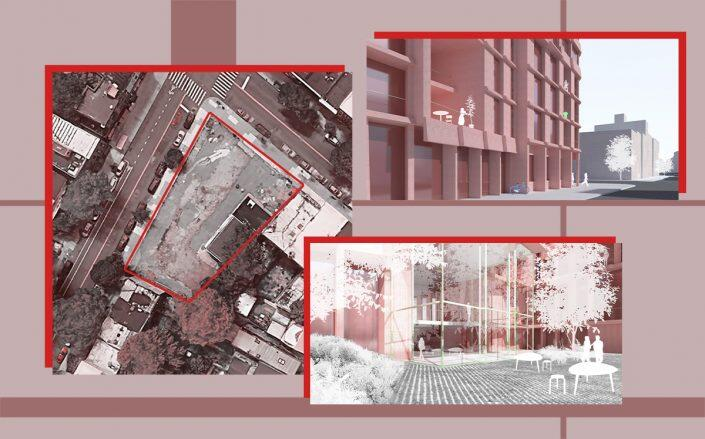 An aerial view of 134 Vanderbilt Avenue and renderings of the project (Google Maps, Tankhouse)