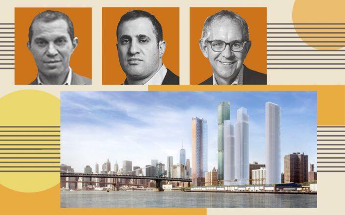 Rendering of Two Bridges project with Starrett's Josh Siegel, JDS Development's Michael Stern and L&M's Ron Moelis