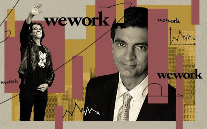 Wework's former and current CEOs Adam Neumann and Sandeep Mathrani (Getty, iStock)