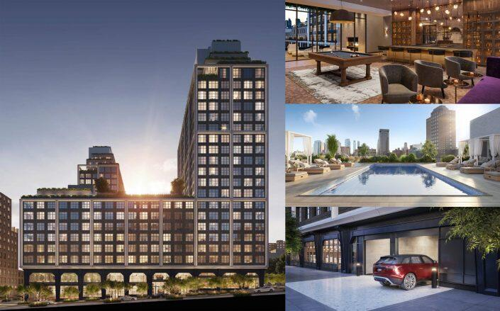 Exterior and amenities of 85 Jay Street in Dumbo. (Front & York)