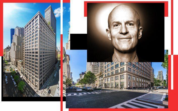 Boston Properties CEO Owen Thomas and 360 Park Ave South (Thomas by Axel Dupeux, 360 Park Ave South via CBRE)