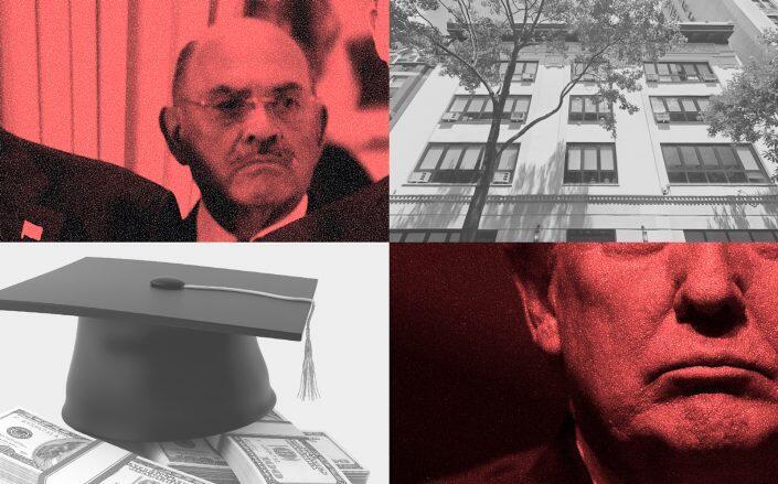 Clockwise from top left: Allen Weisselberg, Columbia Grammar & Preparatory School, Donald Trump (Getty, Google Maps, iStock)