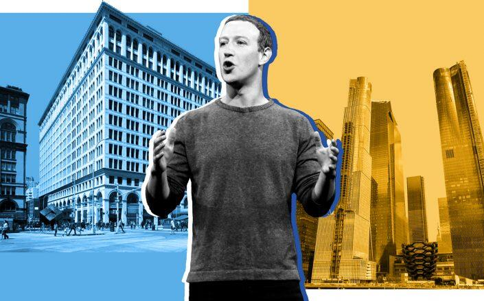 Facebook CEO Mark Zuckerberg with 770 Broadway and Hudson Yards (Getty, VNO, iStock)