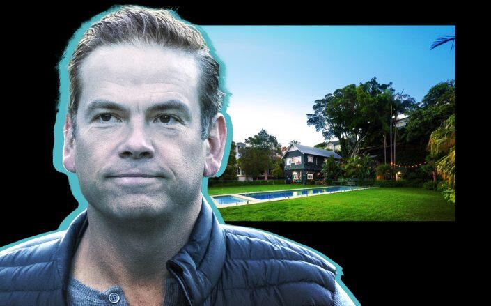 Lachlan Murdoch and the home on Sydney Harbor (Getty, Private Property Global)