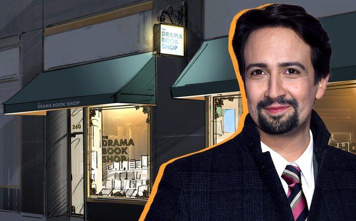 A rendering of the Drama Book Shop and Lin-Manuel Miranda (Drama Book Shop, Getty)
