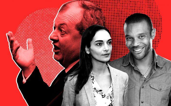 REBNY president James Whelan, State Sens. Julia Salazar and Jabari Brisport (Getty, Facebook, Whelan via Anuja Shakya)