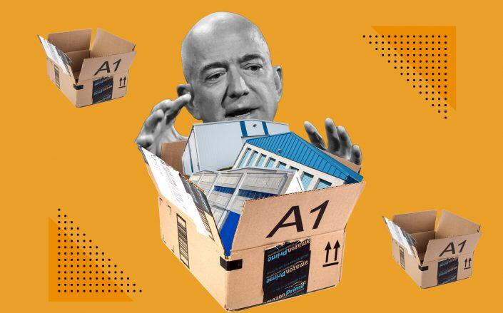 Illustration of Amazon's Jeff Bezos (Photo illustration by Kevin Rebong for The Real Deal)