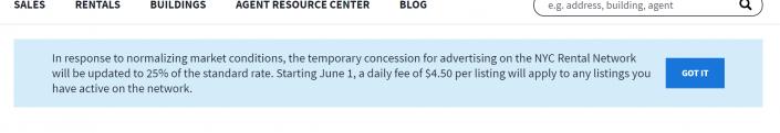 Screenshot of StreetEasy notice