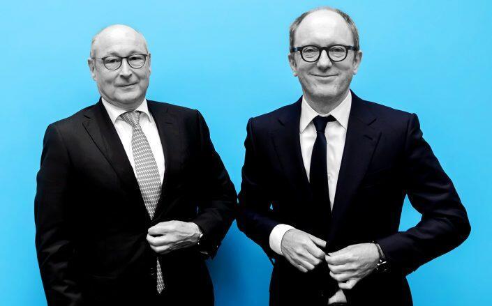 Vonovia CEO Rolf Buch and Deutsche Wohnen CEO Michael Zahn at a press conference earlier this week regarding the merger. (Getty)