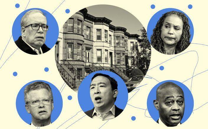 Clockwise from top left: Scott Stringer, Maya Wiley, Raymond McGuire, Andrew Yang and Shaun Donovan (Getty)