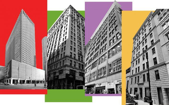 From left: 909 Third Avenue, 79 Fifth Avenue, 240 West 37th Street and 27 East 62nd Street (VNO, Cercone Exterior Restoration, Google Maps)