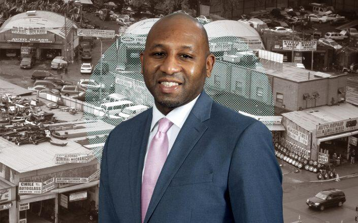 Queens Borough President Donovan Richards in front of Willets Point. (Office of Queens Borough President, WikiMedia / Jim.henderson)