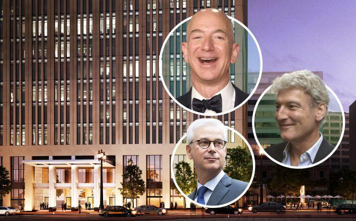 525 Market Street, Amazon CEO Jeff Bezos, Sephora CEO Martin Brok and Wells Fargo CEO Charles W. Scharf. (Getty, Keating Architecture)