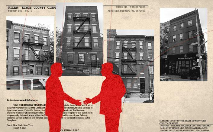 A selection of the properties, from left: 1020 Pacific Street, 818 Bergen Street, 483 St. Marks Avenue and 634 Classon Avenue (Google Maps, Kings County Supreme Court/Illustration by Alexis Manrodt for The Real Deal)