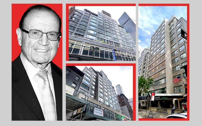 From left: Alvin Dworman, 155 East 55th Street, 65 West 55th Street, and 210 East 58th Street (Getty, Google Maps)