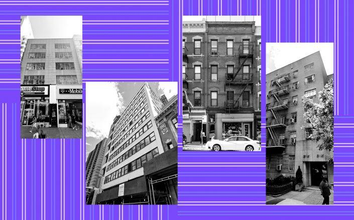 From left: 30 East 14th Street, 156 William Street, 196 7th Avenue and 66 West 88th Street (StreetEasy, Google Maps)