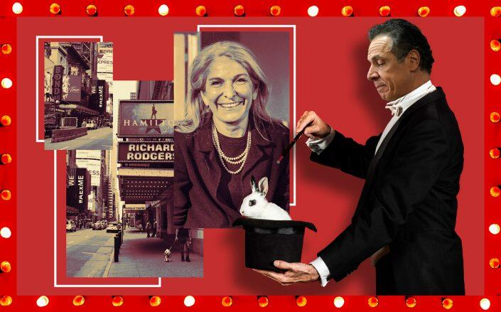 Catherine Russell (inset) and a photo illustration of Gov. Andrew Cuomo (Getty, iStock)