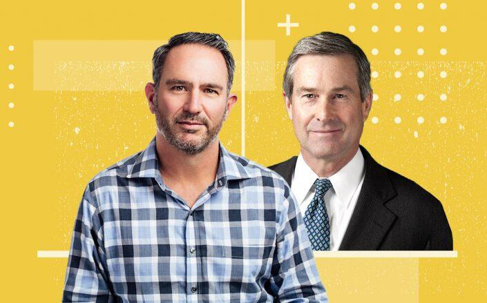 Mynd CEO and co-founder Doug Brien and Invesco Real Estate CEO Scott Dennis (Mynd, Twitter via CBRE)