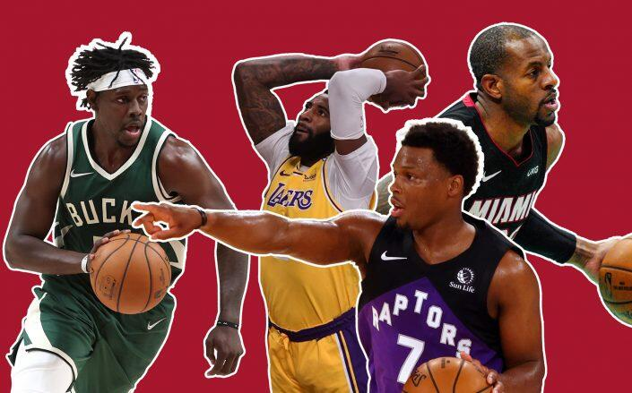 From left: Jrue Holiday of the Milwaukee Bucks, Andre Drummond of the Los Angeles Lakers, Kyle Lowry of the Toronto Raptors and Andre Iguodala of the Miami Heat (Getty)