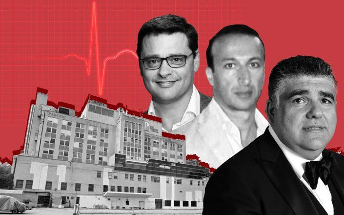 Parkway Hospital in Forest Hills, Top Rock Holdings' Uri Mermelstein, Joseph Yushuvayev and SYU Properties' Josif Elishayev (Google Maps, LinkedIn, Getty)