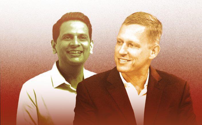 Property Guru CEO Hari Krishnan and Peter Theiel (Property Guru, Getty)