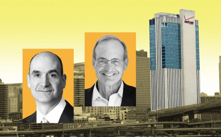 From left: Sabey Corporation CEO John Sabey, National Real Estate Advisors CEO Jeffrey Kanne and 375 Pearl Street (Sabey, National Real Estate Advisors, Tdorante10/Wikimedia)