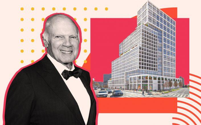 Vornado's Steve Roth and a rendering of 93-30 93rd Street (Getty, JLL)