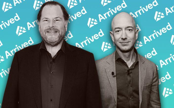 Salesforce CEO Marc Benioff and Amazon's Jeff Bezos are backing the startup (Getty, Arrived)