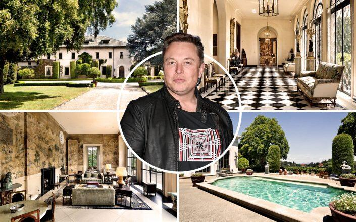 Elon Musk and the San Francisco estate (Getty, Gullixson / Compass)