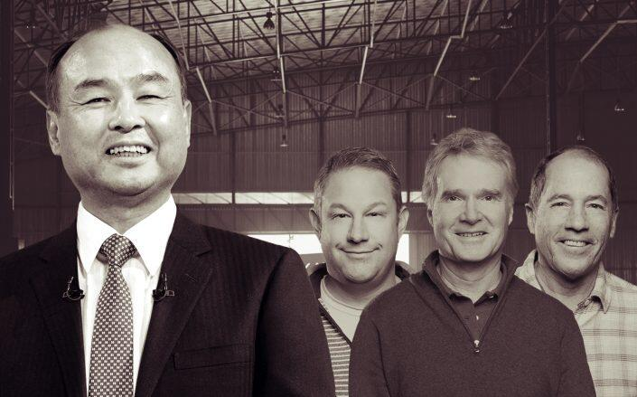 Masayoshi Son and Katerra's founders Fritz Wolff, Jim Davidson and Michael Marks. (Getty, Katerra)