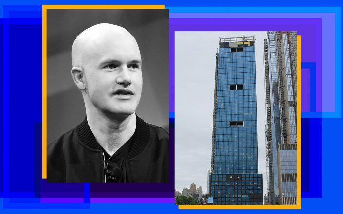 Coinbase CEO Brian Armstrong and 55 Hudson Yards (Getty, Godsfriendchuck/Wikimedia)