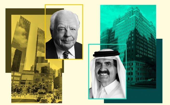 From left: 80 Columbus Circle with Robert Stiller and 737 Park Avenue with Hamad bin Khalifa Al Thani (Photos via Google Maps, Agnovos, State of Qatar, Godsfriendchuck/Wikimedia)