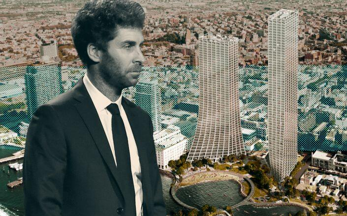 Two Trees CEO Jed Walentas and renderings of the controversial project. (Getty, James Corner Field Operations / Bjarke Ingels Group)