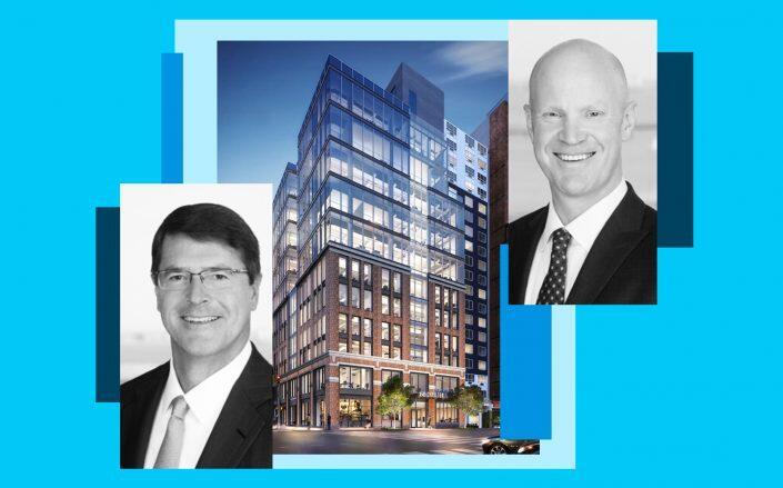 AEW Global CEO Jeff Furber (left), North America CEO Jonathan Martin and 60 Charlton Street (AEW, APF Properties)