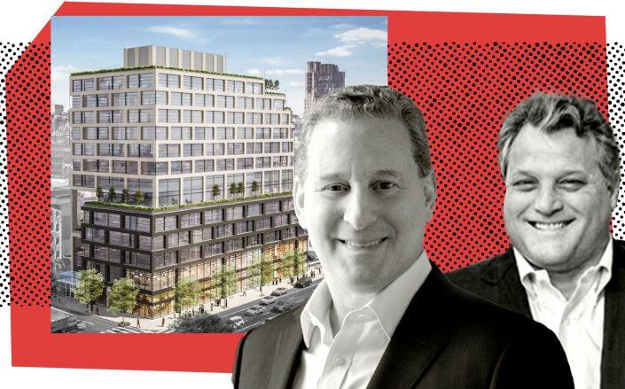 Alchemy ABR's Kenneth Horn and Brian Ray with a rendering of 258-278 Eighth Avenue (Alchemy ABR, JJ Operating)
