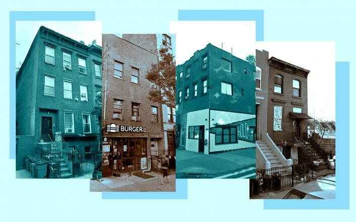 From left: 130 South 2nd Street, 318 Bedford Avenue, 740 Driggs Avenue, 144 Huntington Street in Brooklyn (Google Maps)