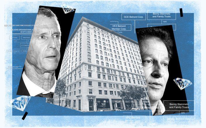 Beny Steinmetz, The Belnord at 225 West 86th Street and HFZ CEO Ziel Feldman (Getty, Google Maps, iStock)
