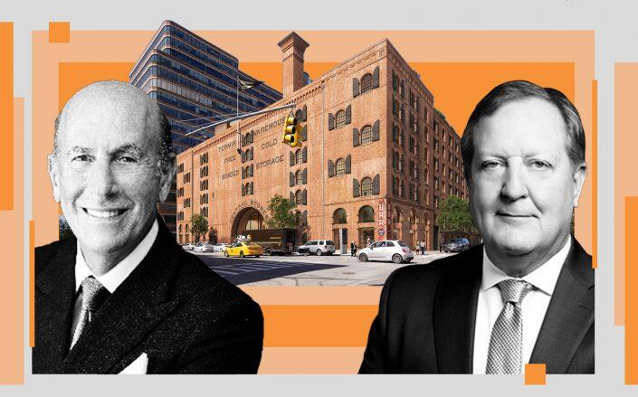 L&L Holding's David Levinson and Columbia Property Trust's Nelson Mills with a rendering of 261 11th Avenue (L&L, Columbia Property Trust, Terminal Warehouse)