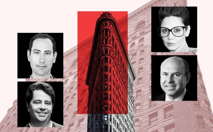 Clockwise from bottom left: GFP Real Estate co-CEOs Eric Gural and Brian Steinwurtzel, Sorgente Group president Veronica Mainetti and ABS President Gregg Schenker with the Flatiron Building (GFP, Sorgente, ABS, iStock)
