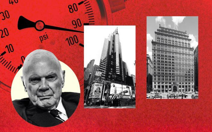 From left: Vornado's Steven Roth with 11 Pennsylvania Plaza and 1540 Broadway (Getty, Jorge Láscar/Flickr, VNO)