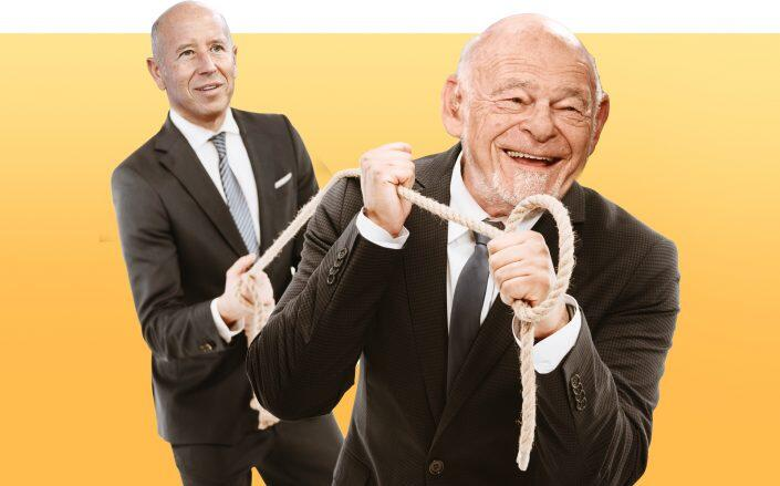 Illustration of Sam Zell of Equity Commonwealth (right) and Barry Sternlicht of Starwood (Illustration by Kevin Rebong for The Real Deal)