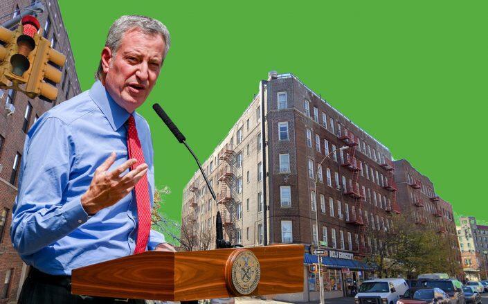 Mayor Bill de Blasio and 1206 Westchester Avenue in the Bronx (Getty, Google Maps)