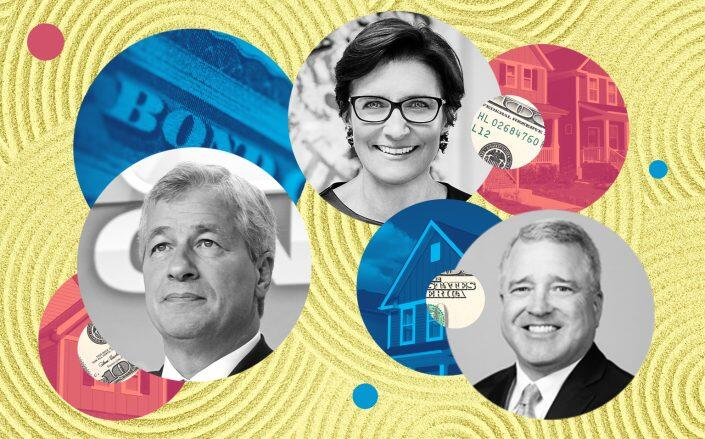 From left: JP Morgan Chase CEO Jamie Dimon, Citigroup CEO Jane Fraser and Texas Capital Bank CEO Rob Holmes (iStock, LowneyJen/Wikimedia, World Economic Forum/Wikimedia, Texas Capital bank)