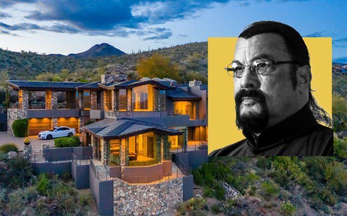 Steven Seagal and the compound in Scottsdale, Arizona (Getty, Redfin)