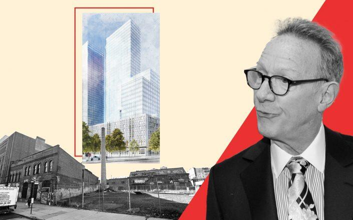 Continuum Company founder Ian Bruce Eichner and the former Spice Factory at 960 Franklin Street with a rendering of 960 Franklin Avenue (Getty, Google Maps, Continuum Company)