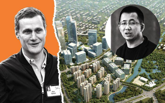 Tishman Speyer CEO Rob Speyer with ByteDance CEO Zhang Yiming and an aerial of The Springs (Getty, Tishman Speyer)