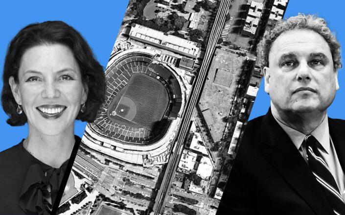 NYC Economic Development Corp. president Rachel Loeb and Yankees president Randy Levine (Getty, EDC, Google Maps)
