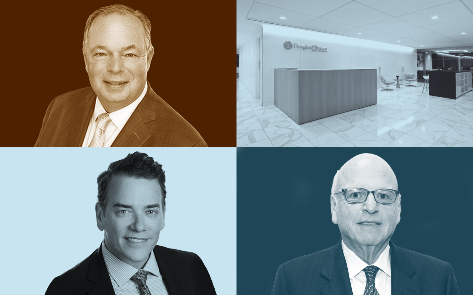 Clockwise from top left: Richard Ferrari, Elliman's flagship NYC office at 575 Madison Avenue, Elliman's Executive Chairman Howard Lorber and Elliman's president and COO Scott Durkin