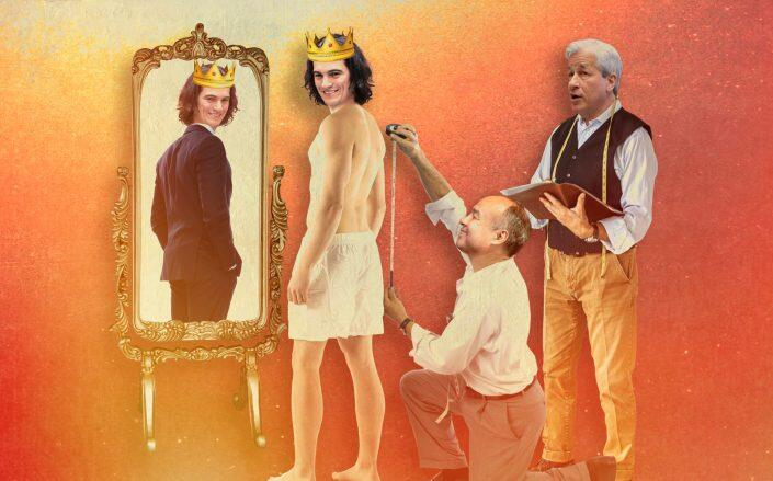 Adam Neumann, Masa Son and Jamie Dimon: What happens to the system when the adults in the room wet the bed? (Photo illustration by Kevin Rebong)