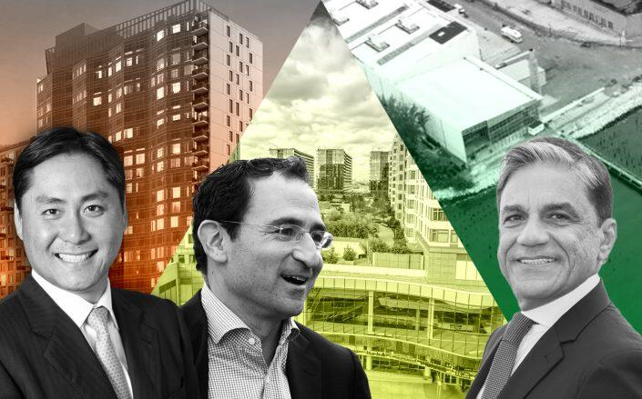 Left to right: Innovo Property Group CEO Andrew Chang at 1110 Oak Point Avenue, John Gray at Blackstone with Skyview Shopping Center, and Joseph Moinian at 123 Linden Blvd (New York Expo Center, Innovo, The Moinian Group, Getty, Skyview Stores)
